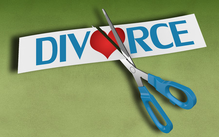 betrayal: Scissors cutting paper with text divorce