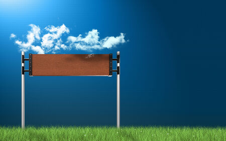 Empty road sign in green grass field over blue sky background  photo