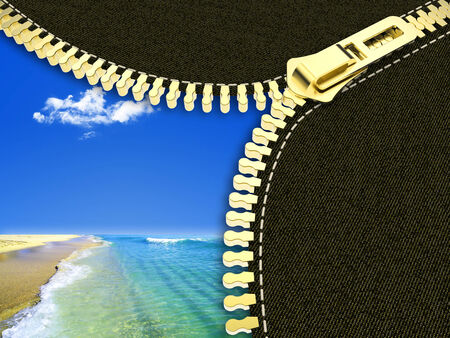 Open zipper showing a beautiful blue sky and clear sea photo