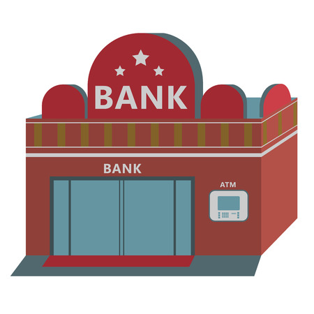 bank building: Bank with Automated teller machine on white background
