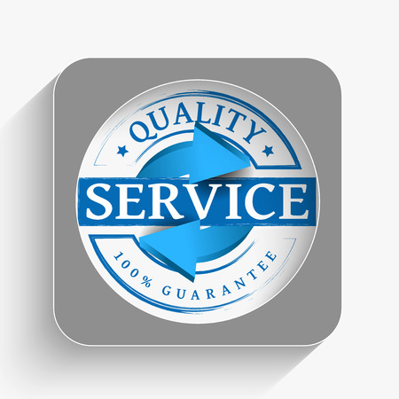 Service quality grunge stamp icon with long shadow
