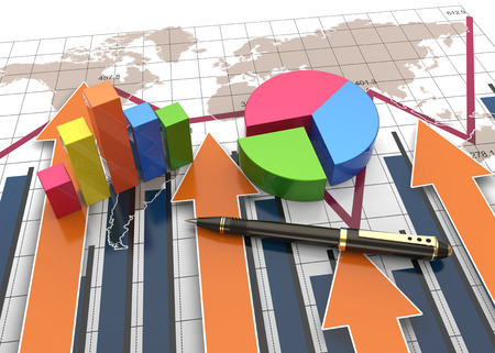 planning process: Financial and business chart and graphs