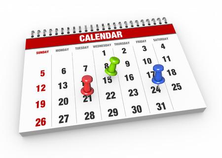 almanak: Kalender met vinkje als concept Stockfoto