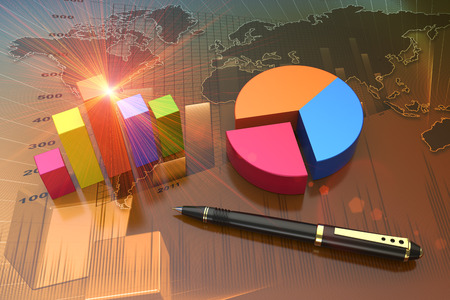 logistics world: Financial graphs as a successful business concept Stock Photo