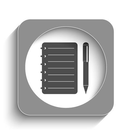 Spiral notebook web icon with shadow Vector