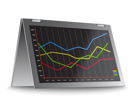 financial figures: Annual report graphs in detail on tablet PC