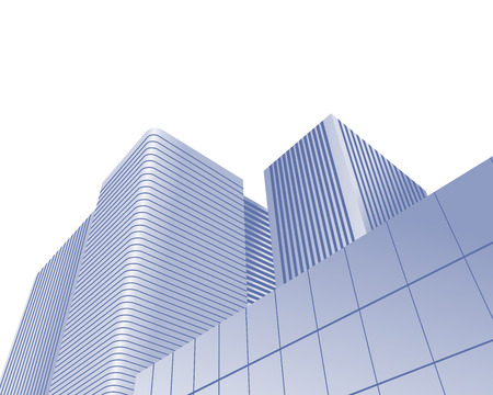 down town: Illustration of urban skyscrapers of office blocks as concept