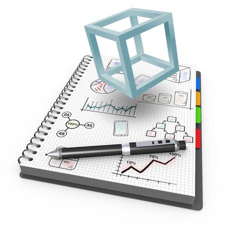 Cahier à spirale avec le concept de cube de projet Banque d'images - 33237814