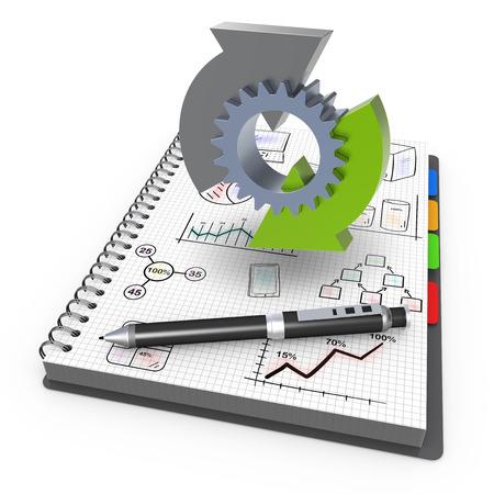 planificacion estrategica: Cuaderno espiral con el negocio proceso Foto de archivo