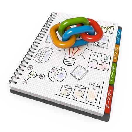 pensamiento estrategico: Cuaderno espiral con la cadena asociada