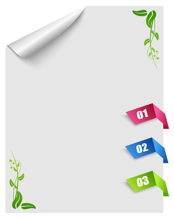 menu board: Curled corner of white page with tabs Illustration