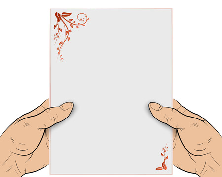 Wishes to events, hands holding letter Vector