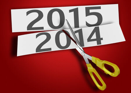 cut up: The old year was cut up, comes a new 2015 Stock Photo