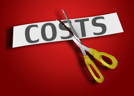 cut price: Word of the cost of cutting the paper with scissors