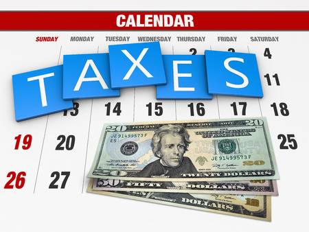 exemption: Income tax as a concept in the background calendar Stock Photo