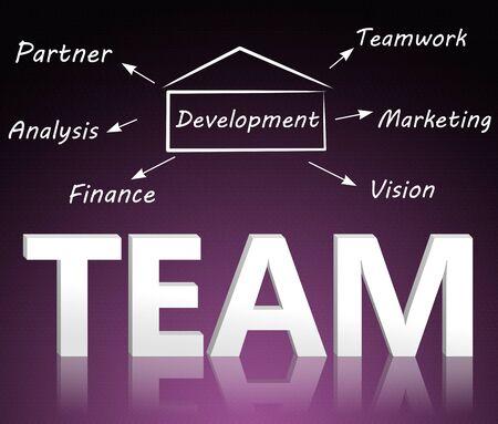 leadership development: Concept of teamwork, union, leadership as a chart