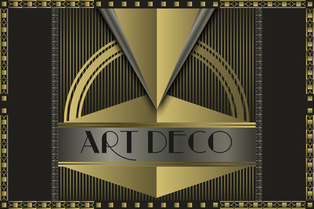 illustration line art: Art deco geometric vintage  frame  Illustration