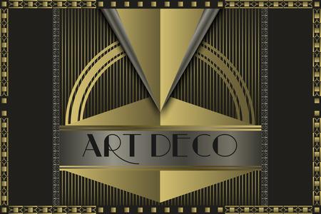 art deco background: Art deco geometric vintage  frame  Illustration