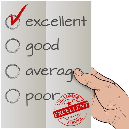 Customer satisfaction survey, excellent checked Vector