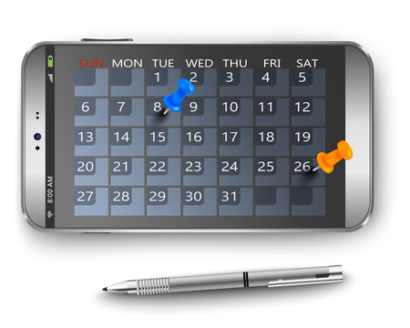 stylus: Smart phone with calendar and thumbtacks as concept