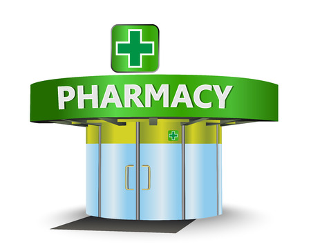pharmacy store: Pharmacy building as a concept symbol