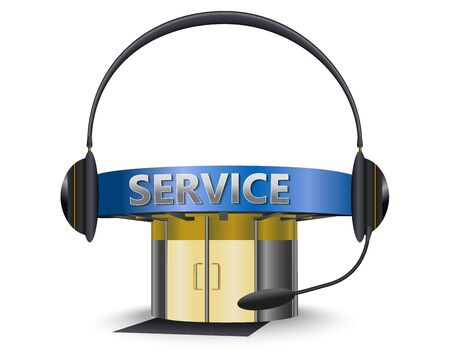 backing: Service center with a headset as concept