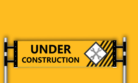 refit: Under construction sign on yellow background