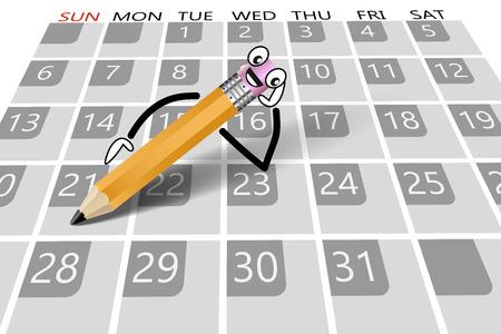 Calendar with pencil lying as a concept