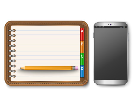 spiral notebook: Illustration of realistic spiral notebook with smart phone