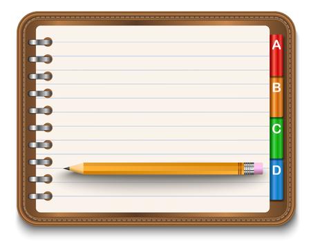 cuaderno espiral: Ilustraci�n del cuaderno espiral realista y l�pices detalladas Vectores