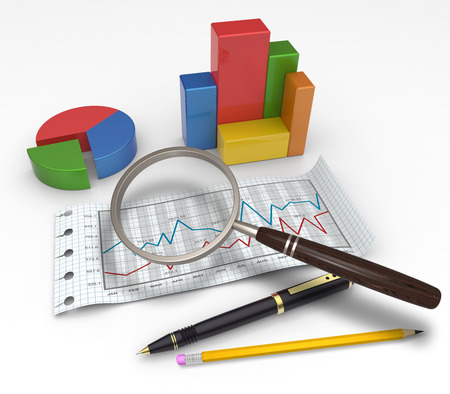 financial analysis: Financial graphs and charts analysis as concept