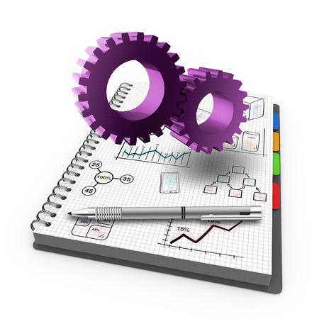 diagrama de procesos: Cuaderno espiral con el negocio proceso Foto de archivo
