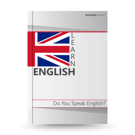 learning english: Cover brochure design, abstract as learn English