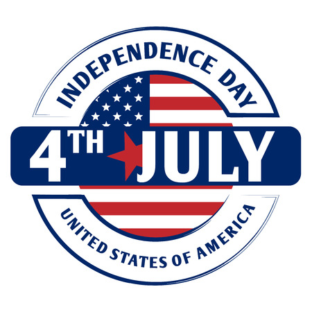 4th July American Independence Day as stamp