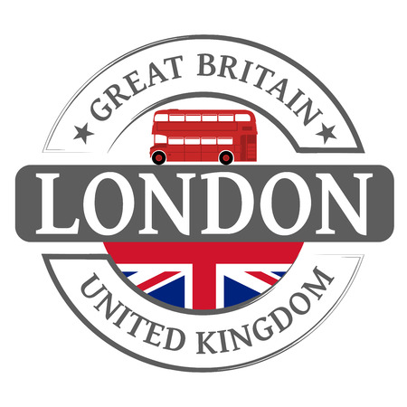 red bus: Tag London and red london bus Illustration