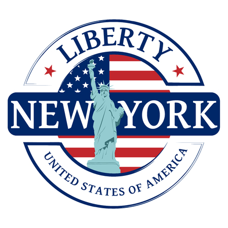 Rubber stamp with Statue of Liberty and the word New York