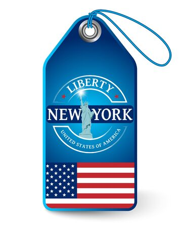 Tag with the Statue of Liberty in New York Vector