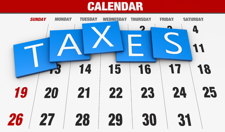 taxation: Income tax as a concept in the background calendar Stock Photo