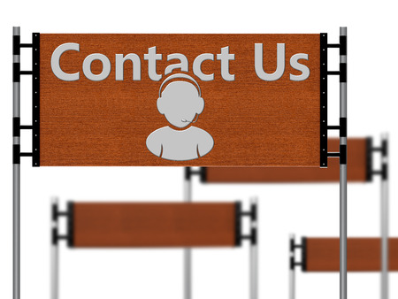 said: Wooden sign that said contact us