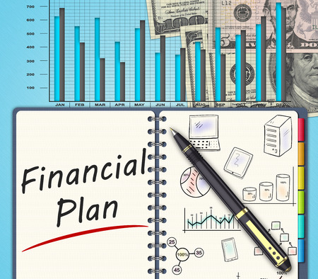 mortage: The financial business plan  on an office desk
