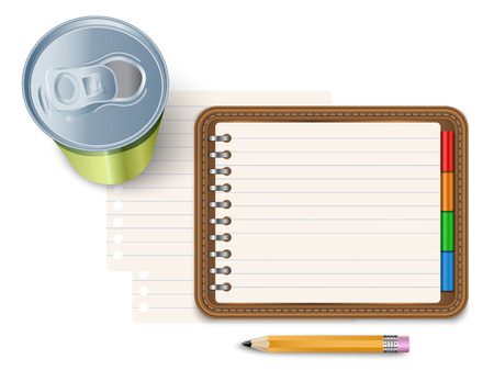 energy drink: Notepad with pencil and energy drink Illustration