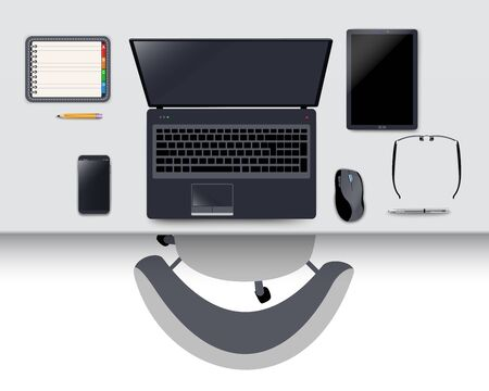 workstation: Office desk with modern wireless devices