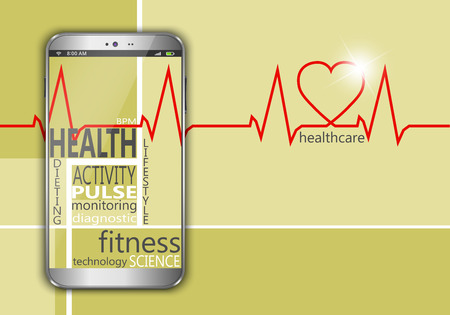 bpm: Smart phone with the words health as concept