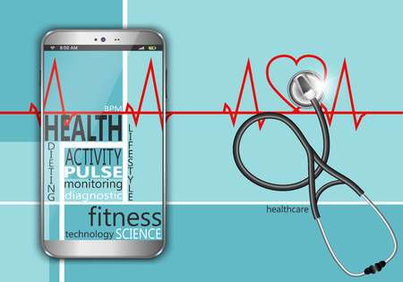 Smart phone with the words health as concept