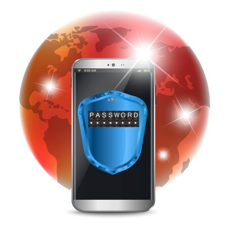 secure data: Smart phone with a protective shield, secure data concept Illustration