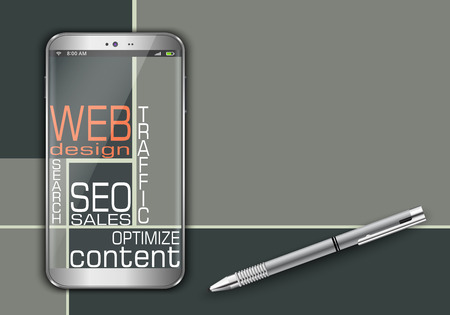 dynamic html: Smart phone and web word cloud concept design