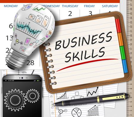 competencias laborales: Habilidades empresariales escritas a mano en un cuaderno sobre la mesa como concepto