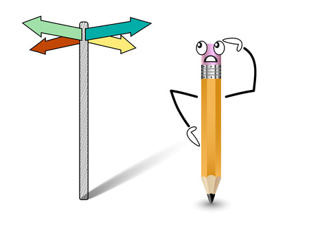 decides: Cheerful pencil at a crossroads decides Which direction