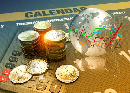 global trade: Global economics graph and euro coins as finance concept. Stock Photo