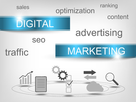 digital marketing: Digital marketing concept with symbols